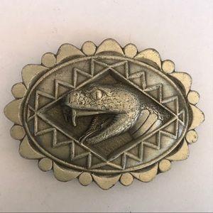 Vintage solid pewter rattlesnake belt buckle
